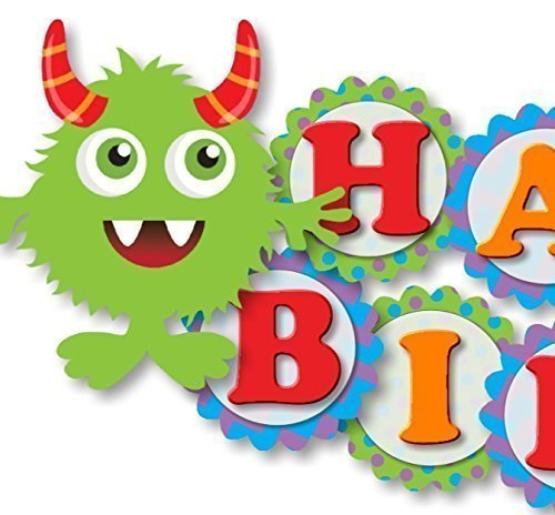 Monster Birthday Banner Party Decoration Supplies -