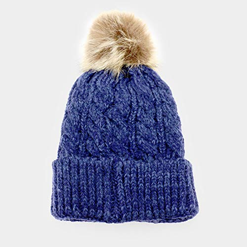 cf14d1a5bf8 Amtal Women Soft Cable Knit Faux Fur Pom Pom Beanie Hat (Navy) at ...
