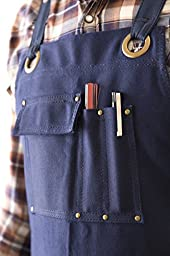 Heavy Duty Waxed Canvas Work Apron (Classic Blue) with Pockets - Size up to XXL - for Men and Women