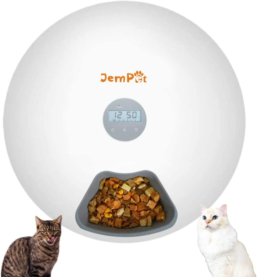 JEMPET Automatic Pet Cat Dog Feeder-Donut Shape 6-Meal with Programmable Timer-Power by USB/Battery-Auto Dispenser for Cat & Small / Medium Dog