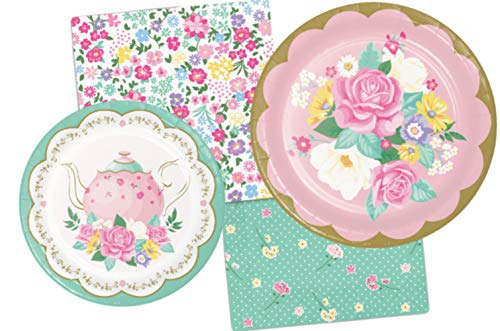 (Floral Themed Tea Party Supply Pack Bundle Includes Paper Plates & Napkins for 8)