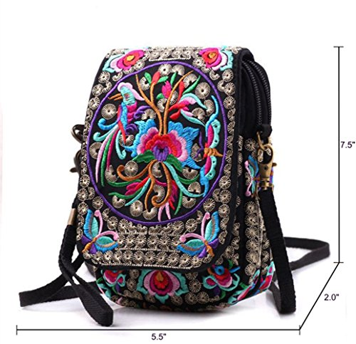 Embroidery Flowers Canvas Crossbody Bag, Women Messenger Bag, Cellphone Pouch Purse by Goodhan (Image #2)