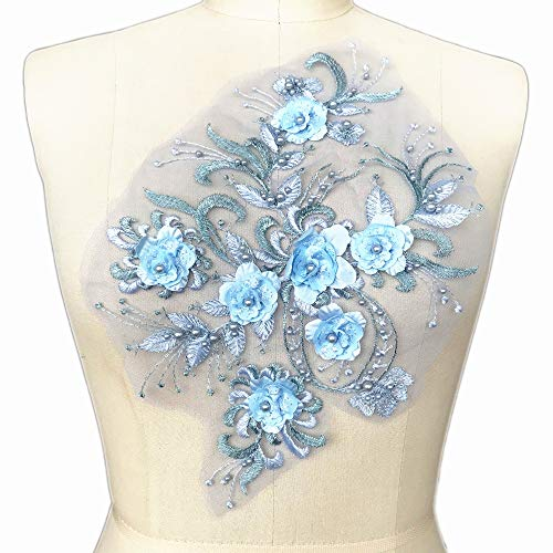 (Crystal 3D Flower Rhinestones Beaded Sequined Light Blue Lace Patch Applique Motif Sew on Clothes Women Evening Dress Polychromatic Option)