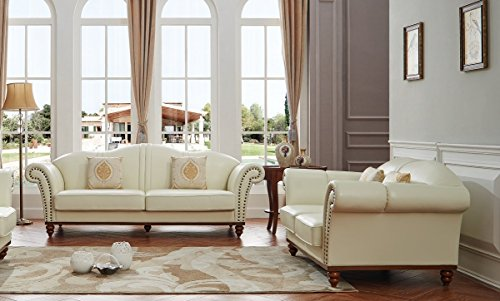 ESF 2601 Versachi II White Italian Leather Living Room SOFA and LOVESEAT Set 2Pcs MADE IN - Versachi Versachi