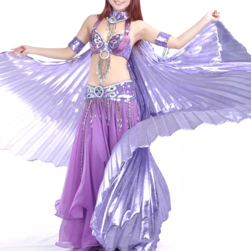 Belly Dance Costume Isis Wings With Sticks, Lavender