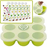 Baby Food Freezer Trays & Reusable Food Pouches | Baby Food Storage Pouch Perfect for Serving Homemade Healthy Smoothies & Purees | Easy Clean & Saves Money | Better for Babies Toddler & Environment