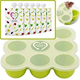 Baby Food Freezer Trays & Reusable Food Pouches   Baby Food Storage Pouch Perfect for Serving Homemade Healthy Smoothies & Purees   Easy Clean & Saves Money   Baby Food Containers