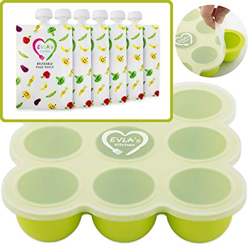 Baby Food Freezer Trays & Reusable Food Pouches | Baby Food Storage Pouch Perfect for Serving Homemade Healthy Smoothies & Purees | Easy Clean & Saves Money | Baby Food Containers