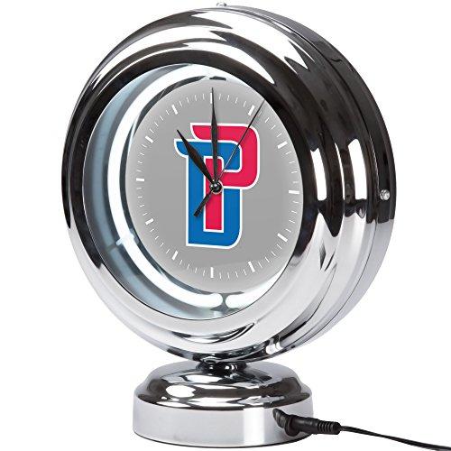 Trademark Gameroom Detroit Pistons NBA Chrome Retro Style Tabletop Neon Clock