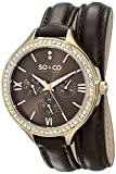 SO&CO New York Women's 5047S.2 SoHo Day and Date Crystal-Accented Watch with Wraparound Brown Leather Band