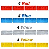 16 Pcs Reflective Diamond Grade High Visibility Outdoor Waterproof Stickers for Cars, Motorcycles & Other Safety Needs - 1.18in x 3.25in (Multi-Color Pack)