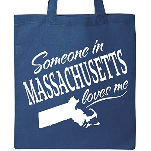 Inktastic - Someone in Massachusetts Loves Me Tote Bag Royal Blue - Massachusetts Bag
