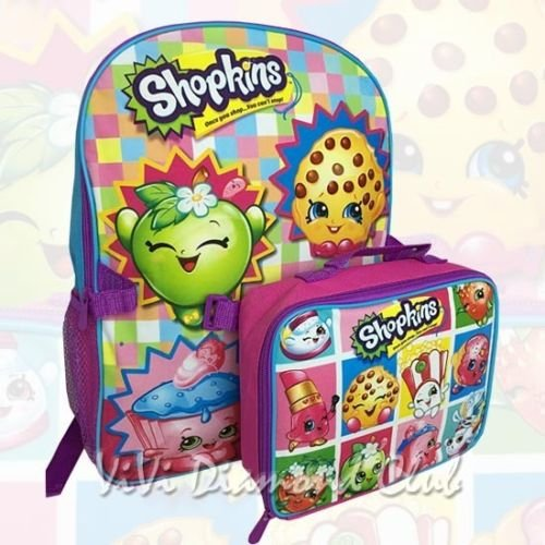 Shopkins Girl's 16'' Large School Book Backpack w/Detachable Lunch Box Bag Combo by Unbranded*