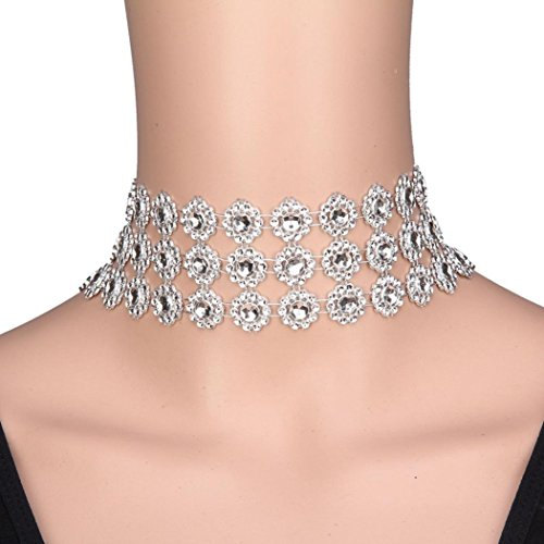 Fheaven Lady Diamond Choker Necklace Rhinestone Silver Crystal Party Bridal Necklace