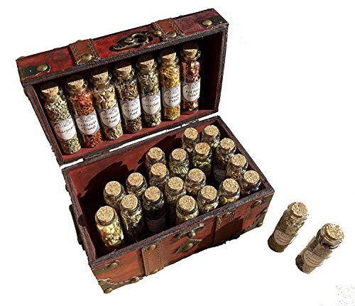 Apothecary Witchcraft Kit Glass Bottles Herbs Travel Wiccan Altar Kit Pagan Ritual kit (Medium)