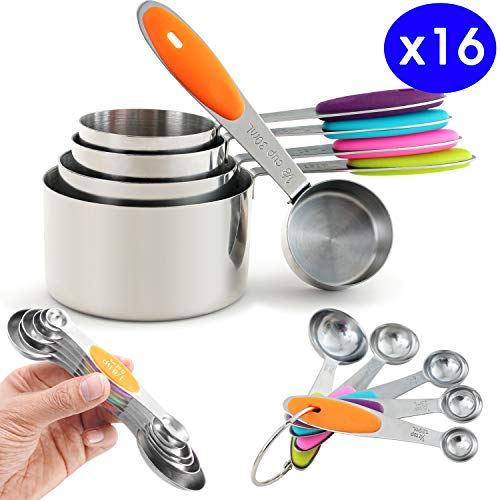 Prodigen Stainless Steel Measuring Cups & Measuring Spoons Set Metal Liquid And Dry Tablespoon Measuring Cups Kitchen Magnetic Measuring Spoons for Baking,Cooking for Food (Cups&Spoons-16Pieces)