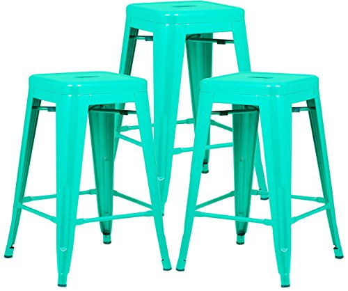 Poly and Bark Trattoria 24 Counter Height Stool in Aqua Set of 3