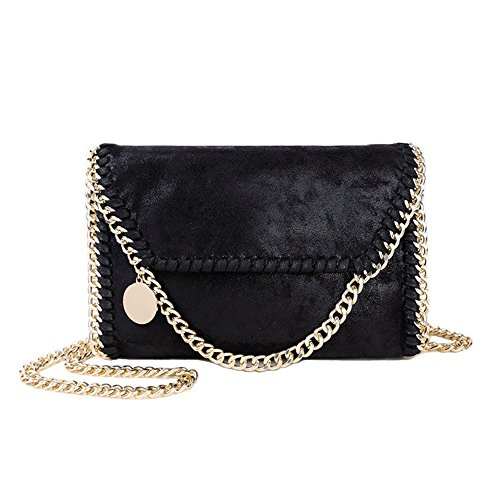 Women Chain Bag Fashion PU Leather Crossbody Bag Shoulder Bags Ladies Clutch Handbag (Black & Gold)