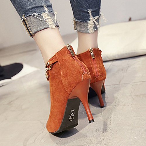 Fashion Boots 2 Heels Heel Pointed Short High Bare Sexy and Female Slim High Autumn Winter Boots WzZqBPacwU
