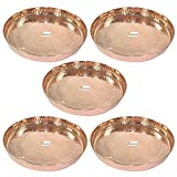 "Set of 5 -Prisha India Craft 100% Pure Copper Dinner Plate - Dia 12""- Traditional Kitchen Special Thali Plate Home Decorative Restaurant Ware Hotel - CHRISTMAS GIFTS"