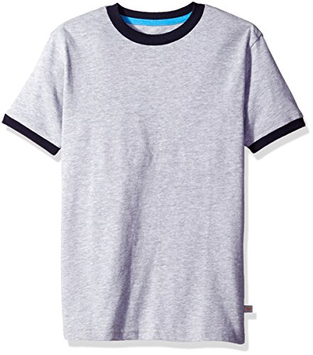 Scout + Ro Big Boys' Short-Sleeve T-Shirt With Contrast Trim, Grey Heather, 12