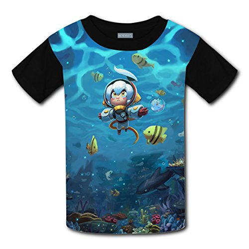 XYXLOVE Cartoon Diver T-Shirt Kids Tee Shirt 3D Print Crew Neck Tops (Black)