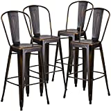 Tall Bar Stools with Backs Flash Furniture 4 Pk. 30'' High Distressed Copper Metal Indoor-Outdoor Barstool with Back