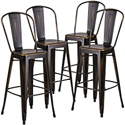 Farmhouse Barstools Flash Furniture Commercial Grade 4 Pack 30″ High Distressed Copper Metal Indoor-Outdoor Barstool with Back farmhouse barstools