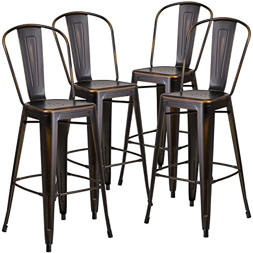 Flash Furniture 4 Pk. 30'' High Distressed Copper Metal Indoor-Outdoor Barstool with Back