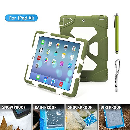 iPad Air/5 Case,Aceguarder New [Rainproof/kidproof/Dirtproof/Shockproof] Cover Case with Stand Super Protection for Kids Outdoor Adventure Aports Tourism Gifts Outdoor Carabiner (Olive&White)