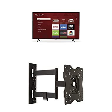 TCL 49S305 49-Inch 1080p Roku Smart LED TV (2017 Model) and AmazonBasics Heavy-Duty, Full Motion Articulating TV Wall Mount for 22-inch to 55-inch TVs