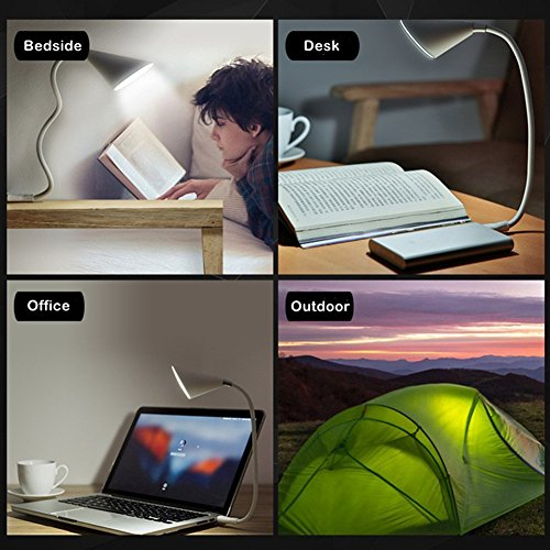 JUJIAMEI Portable USB Reading Lamp and Smart Touch LED Music lamp,360° Lighting Speaker, Desk Lamps 3 Stepless Brightness LED Study Lamp and USB Charging Port for Smart Devices (White) by JUJIAMEI (Image #5)