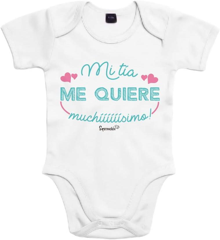 SUPERMOLON Body bebé algodón Mi tía me quiere muchísimo 3 meses Blanco Manga corta