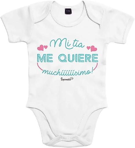 SUPERMOLON Body bebé algodón Mi tía me quiere muchísimo 3 meses Blanco Manga corta: Amazon.es: Bebé