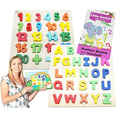 EasY FoxY ToY Wooden ABC & Numbers 1-20 Puzzle 2PACK with Letters of The Alphabet for Toddlers; Best Game for Children to Learn and Have Fun. Counting Puzzle for Kids, They are Entertained for Hours: Toys & Games
