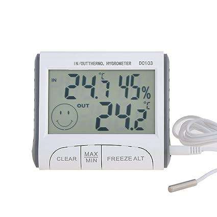 DC103 Blanco Termómetro Digital LCD Pantalla funciona con pilas Temperatura Humedad Termómetro higrómetro