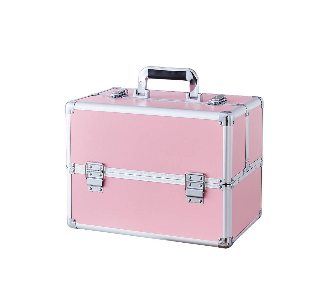 Makeup Case - Professional Portable Aluminum Cosmetic Storage Box with Locks and Folding Trays Pink