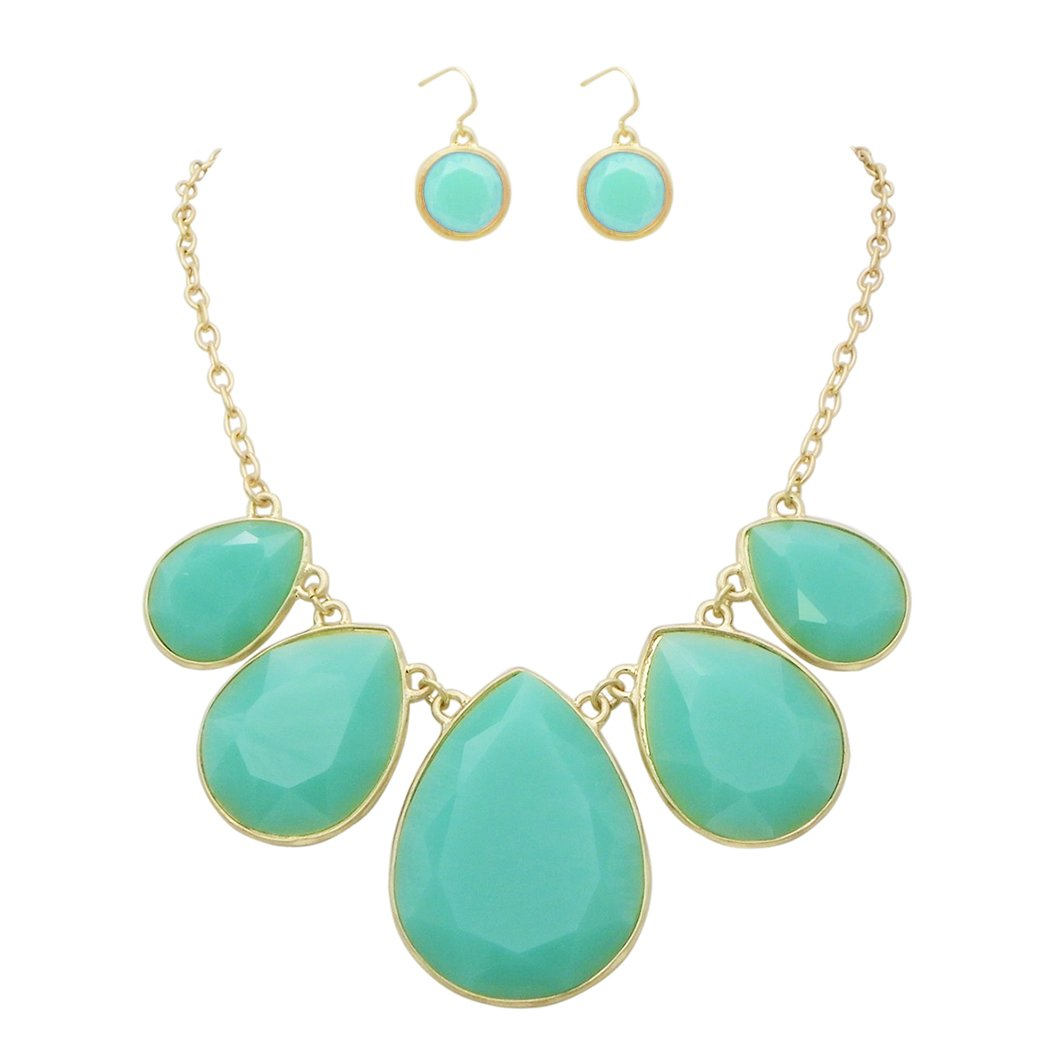 Rosemarie Collections Women's Summer Fashion Jewelry Set Teardrop Statement Necklace (Turquoise Color)
