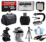 Essential Accessories Package for GoPro Hero6 Hero5 Hero5 Session Hero4 Hero3+ Hero3 Hero Camera with 32GB Card, Case, Handlebar Clamp, Head Strap, Full Size Tripod, HDMI Cable, MoonGrip, LED Light