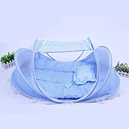 CdyBox Foldable Travel Baby Tent Summer Beach Playtent Instant Mosquito Net with Mattress Pillow Breathable (110x65x60cm, Blue)