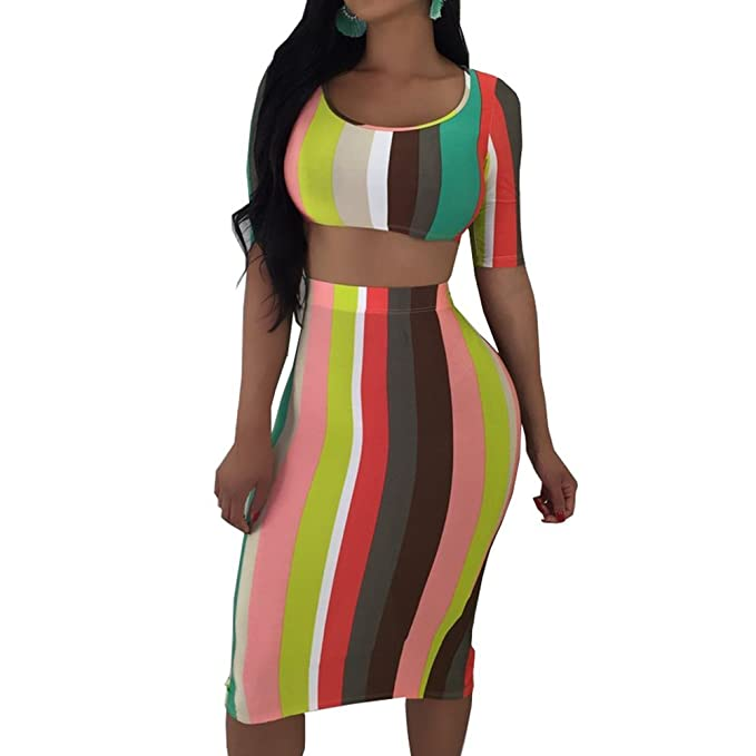1c4ebeabe OLUOLIN Womens Sexy Stripe Print Short Sleeves 2 Piece Midi Pencil Dress  Outfits Crop Top and Stretchy Split Skirt Set at Amazon Women's Clothing  store:
