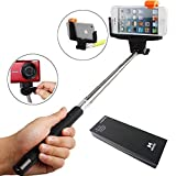 YOPO Newest Wireless Bluetooth Monopod with Remote Shutter Button Extendable Self Portraits Handheld Stick Pole with Tripod Mount Holder Designed for iPhone 6 5 5S 5C 4S 4 6 Plus Samsung Galaxy S5 S4 S3 Note 3 2 (Black)