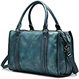 NiceEbag Women Top-handle Bag Retro Shoulder Bag Genuine Leather Tote(Blue)