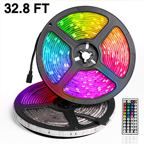 LED Strip Lights 32.8ft with RGB Remote Controller, 12V 5A SMD5050 300LEDs, IP65 Waterproof LED Tape Light, 2 Reels ()