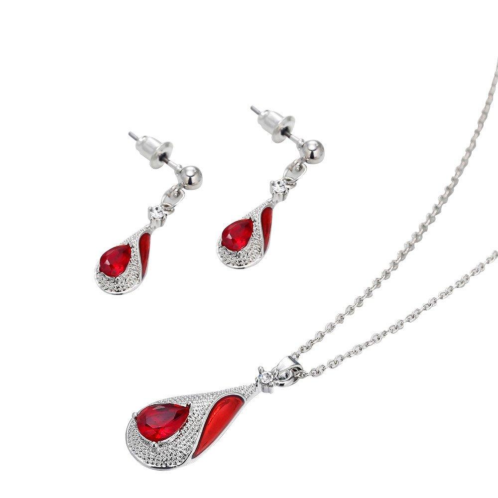 BURFLY ミ❤ミWomen's Water Drop Pendant Earring Necklace Ornament Jewellery Suit