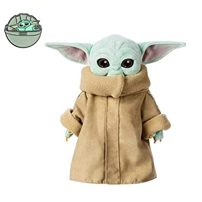 Moovi Set Baby Yoda Brooch Mandalorian Baby and 11.8''(30cm) Stuffed Dolls Gift for Fans: Toys & Games