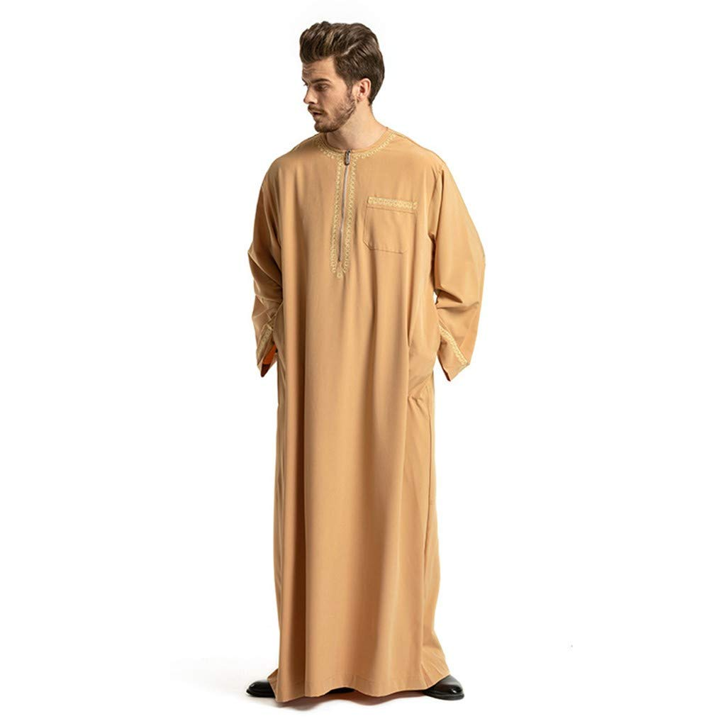 Men's Muslim Dress,2036 Long Sleeve Casual Loose Ethnic Middle East Kaftan Abaya Robe Maxi Dress for Men