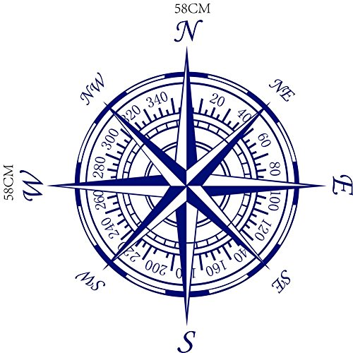BIBITIME Nautical Compass Rose Wall Decal Decor Vinyl Decals for Living Room Sofa Couch TV Background Bedroom Nursery Art Mural,Dark Blue,22.83