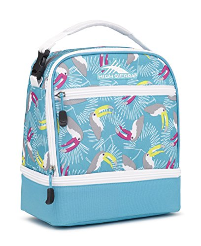 High Sierra Stacked Compartment Lunch Bag, Toucan/Tropic Teal/White