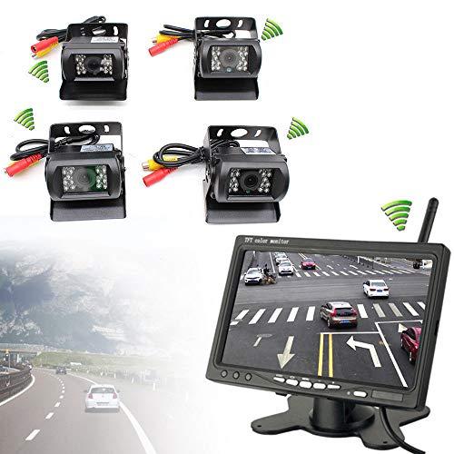 4 x draadloze auto vrachtwagen achteruitrijcamera draadloze nachtzicht camera + 7 inch auto monitor auto achteruitzicht